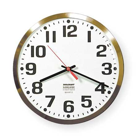 Ability One 9-1/5 Round Wall Clock Arabic, Brown High Impact Polystyrene Frame 6645-00-514-3523 - 1 Each