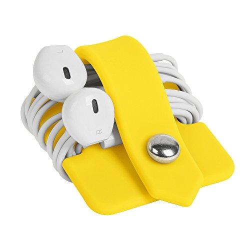 ELFRhino Silicone Earphone Organizer Earphone Wrap Winder Headphone Cord Organizer Wrap Winder Manager/Cable Winder Yellow
