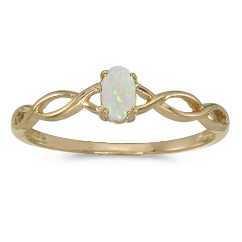Jewels By Lux 10k Yellow Gold Genuine Birthstone Solitaire Oval Opal Wedding Engagement Ring - Size 5 (0.08 ()