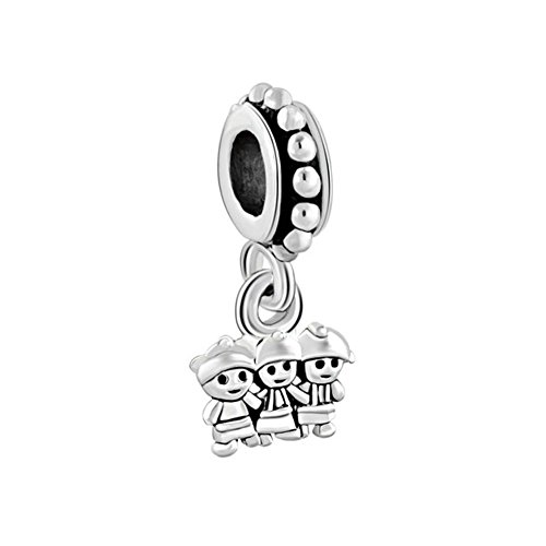 Q&Locket Q&Charms Three Girls My Sister Charm Best Friend European Bead Fit Charms Bracelet (Three Girls)