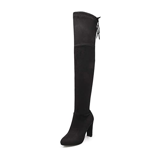 083aa5c7f3 MIUINCY Black Brown Over The Knee Boots for Women High Stretchy Faux Suede  Drawstring Block Thigh High Heel Boots: Amazon.ca: Shoes & Handbags