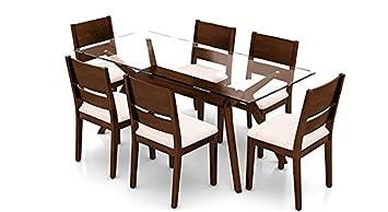 Urban Ladder Wesley Six Seater Rubber Wood Dining Table Set (Dark Walnut Finish, Beige)