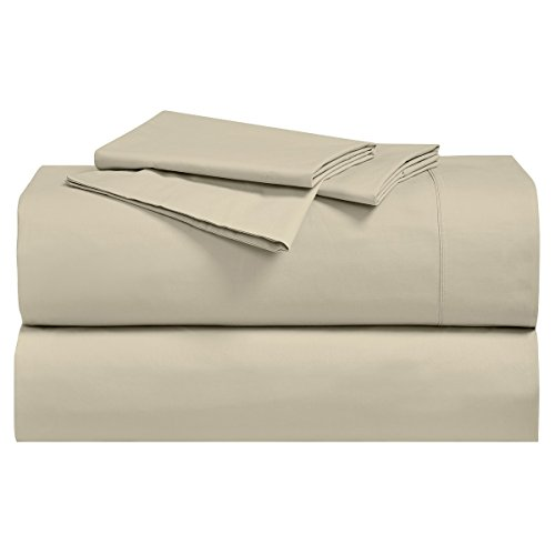 Royal's Solid Tan / Linen 250-Thread-Count 4pc Queen Bed Sheet Set 100% Cotton, Superior Percale Weave, Crispy Soft, Deep Pocket, 100% Cotton