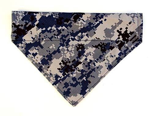 - Navy Military Camouflage Print Dog Bandanna, Over the Collar Slip Thru Thread Through Pet Bib Neckwear Petwear
