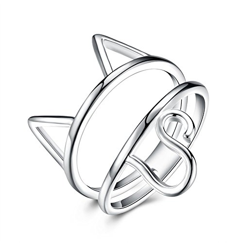 TAVA Women's Cat Ring - .925 Sterling Silver Plated - New Modern Design (New Sterling Silver Cat Ring)