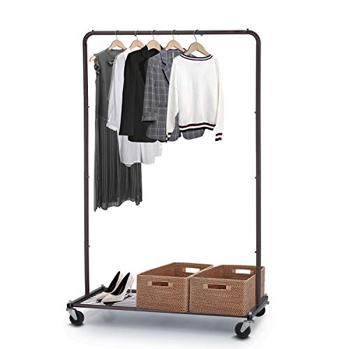 Simple Trending Clothes Garment Rack, Heavy Duty Commercial Grade Clothing Rolling Rack with Mesh Storage Shelf on Wheels, Bronze (Rack Bronze Clothing)