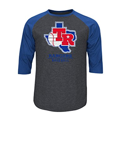 MLB Texas Rangers 1975-1982 Coopers Town Men's Rangers on The Attack Fashion Top, X-Large, Charcoal Heather/Deep - Men 1980 Fashion