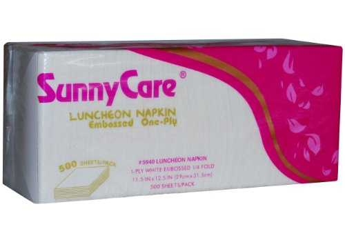 (Sunnycare #5940 Premium Luncheon Napkin Embossed One-ply 1/4 Fold 11.5