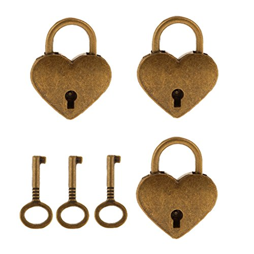 MagiDeal Set of 3 Vintage Heart Shape Padlock with Keys Lock Set - Antique Brass (Antique Brass Heart Shape)