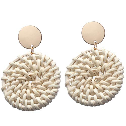 Pameny Rattan Earrings for Women Handmade Straw Wicker Braid Drop Dangle Statement Jewelry (Round A)