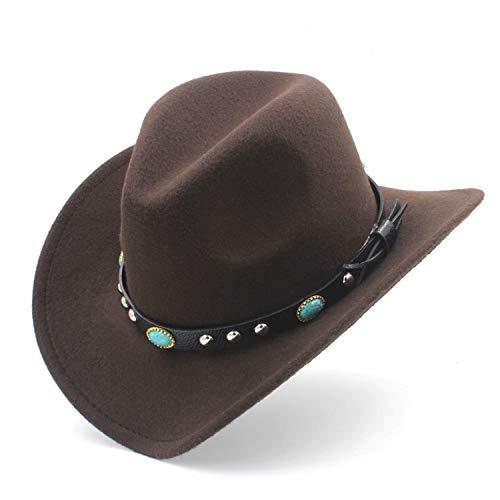 Wool Felt Western Cowboy Hat for Kid Child Wide Brim Cowgirl Kallaite Braid Leather Band ()