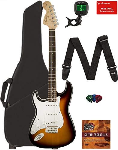 Fender Squier Affinity Stratocaster, Left Handed – Brown Sunburst Bundle with Gig Bag, Tuner, Strap, Picks, and Austin Bazaar Instructional DVD