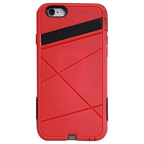 Protege tu iPhone, NILLKIN 2 en 1 caso de la energía estupenda para el iPhone 6 y 6s TPU + caja protectora de la PC con el receptor de carga sin hilos estándar de QI Para el teléfono celular de Iphone Rojo