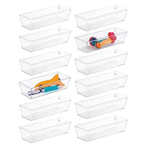 Gadget Tray - mDesign Plastic Kitchen Cabinet Drawer Organizer Tray - Storage Bin for Cutlery, Serving Spoons, Cooking Utensils, Gadgets - BPA Free, Food Safe, 9