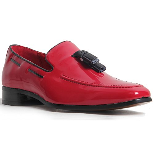 Rossellini Men's Slip On Suede Leather Lined Western Heel Loafers Decorative Stitch Shoes Red Patent