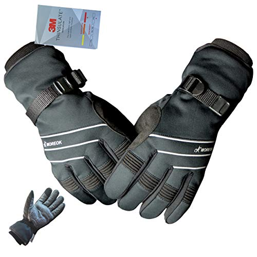 MOREOK Full Finger Winter Ski Thermal Reflective Stripe Cycling Gloves Touch Screen & Slicon Pading Motorcycle Bicycle Bike Sport Warm Gloves Outdoor Driving Men/Women Black&Gray-S