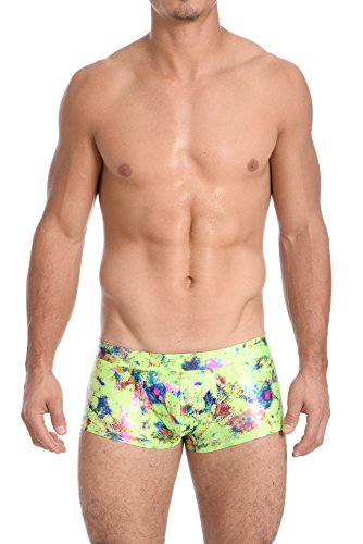 Gary Majdell Sport Mens Printed Hot Body Boxer Swimsuit (Small, Paint Splatter Lime)