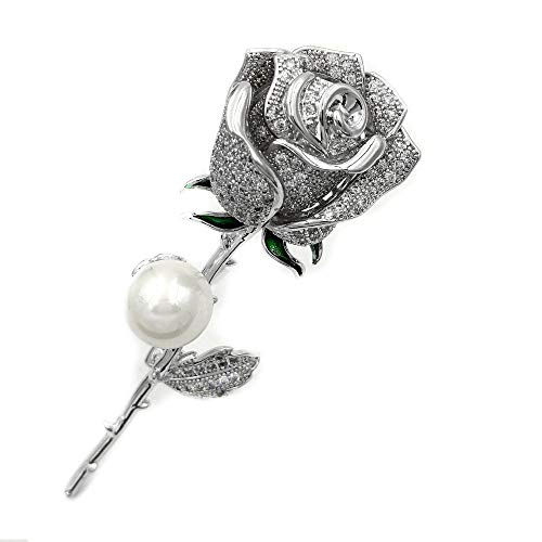DREAMLANDSALES Romantic Vintage Silver Mother of Pearl Deco Long Stem White Rose Brooches Bud Pins Wedding Accessory