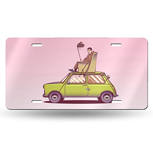 Dunpaiaa Mr Bean Sitting On Top of His Car Vector Art Automobile (6X12) Front License Plate License/Vanity Plate