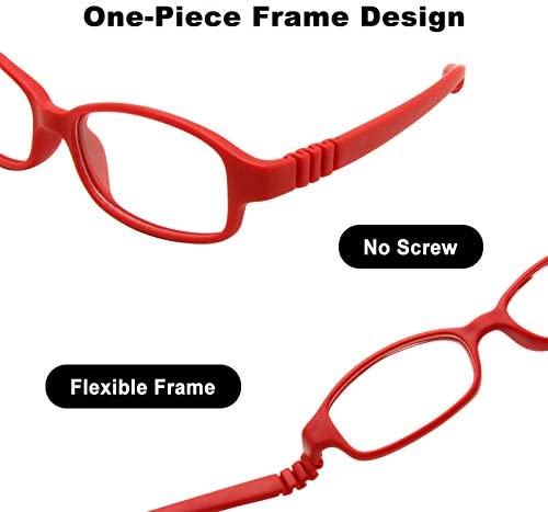 No Screw Flexible Girls Boys Glasses,One-piece Kids Glasses with Cord EnzoDate Children Optical Glasses Frame with Strap Size 49-16