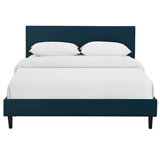 Bedroom Modway Anya Upholstered Azure Platform Bed with Wood Slat Support in Queen modern beds and bed frames