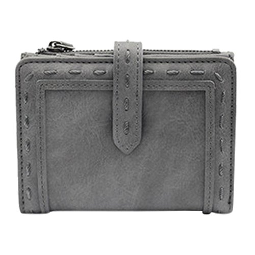 ShiningLove Women Simple Wallet Soft PU Coins Purse Two Folding Multi-function Card Holder Organizer with Snap Closure Gray