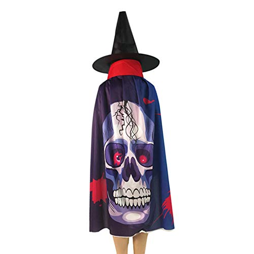 Grim Reaper Cloak Pattern (DAN&LAN Unisex Christmas Halloween Witch Party Vampires Grim Reaper Cosplay Costumes Adult Child with Wizard hat Cape Cloak)