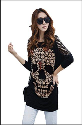 c9bc7aa81 CHFF888 aaiii Mujer Elegante Suelto Hollowing Calavera Impresión Batwing  Manga Larga Baggy Top camiseta negro ...