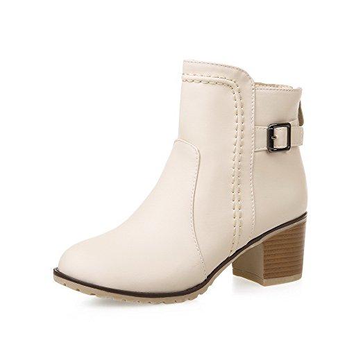 AgooLar Women's Solid Pu Kitten Heels Round Closed Toe Zipper Boots Beige rzRx1