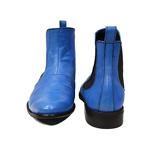 Chelsea Boots Leather Mens Modello PeppeShoes Smooth Slip Ankle Handmade Leather Italian Cowhide Blue Giulio On gTqzw8