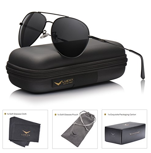 LUENX Aviator Sunglasses Polarized Men & Women : UV 400 Metal Frame 59MM Driving Fashion