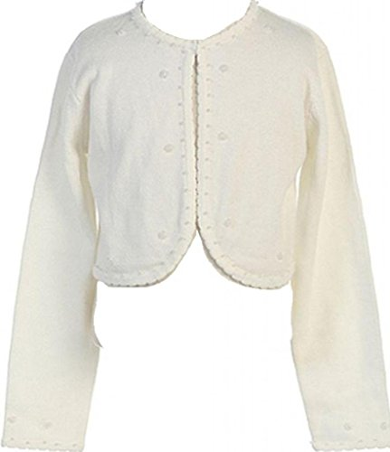 AkiDress Bolero Sweater Comfortable For Girl with Beaded Embellishments Ivory ()