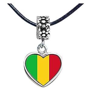 Chicforest Silver Plated Mali flag Photo Flower Head Dangle Heart Charm Beads Fits Pandora Biagi Troll Chamilia Kay's Beads Charms