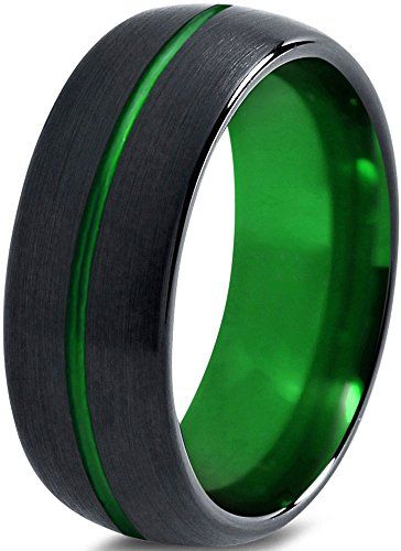 Tungsten Wedding Band Ring 10mm for Men Women Green Black Domed Brushed Polished Center Line Lifetime Guarantee