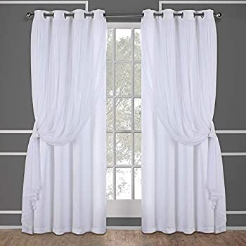 Exclusive Home Curtains Catarina Layered Solid Blackout and Sheer Window Curtain Panel Pair with Grommet Top, 52x96, Winter White, 2 Piece