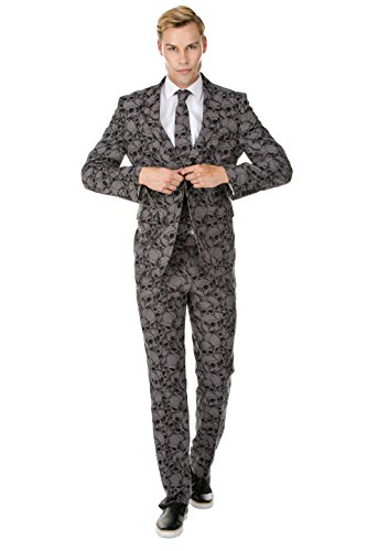 Braveman Mens Bold Novelty Single Breasted 2 Piece Suit, Charcoal, Size 36Sx30W ()