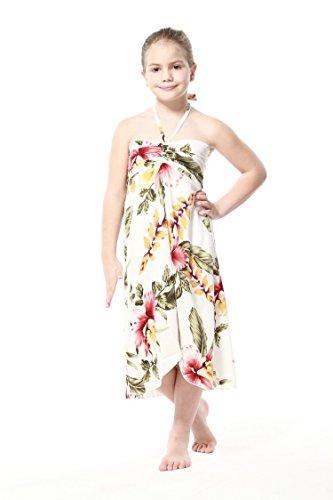 Girl Hawaiian Butterfly Dress in Cream Rafelsia