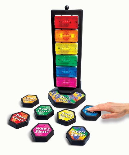 Who's First? Wireless Game Buzzer System w/ Light Tower, 6 Buttons