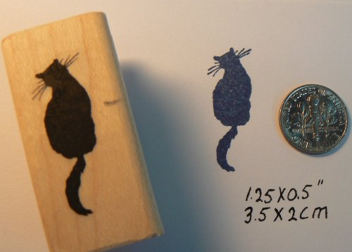 P5 Cat Silhouette Mini Rubber Stamp Wm 1.25x0.5