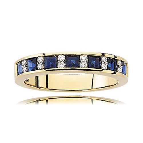 Princess Shape Sapphire & Diamond Anniversary Ring in 14kt Yellow Gold - Nice