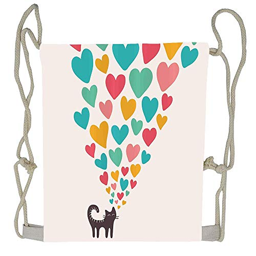 AoshangGardeflag Cute Cat in Love with Colorful Different Size Hearts Happy Sweet Kitty Clipart Beutiful Prints Packable Print Drawstring Bags Travel Backpack Bags For Gift