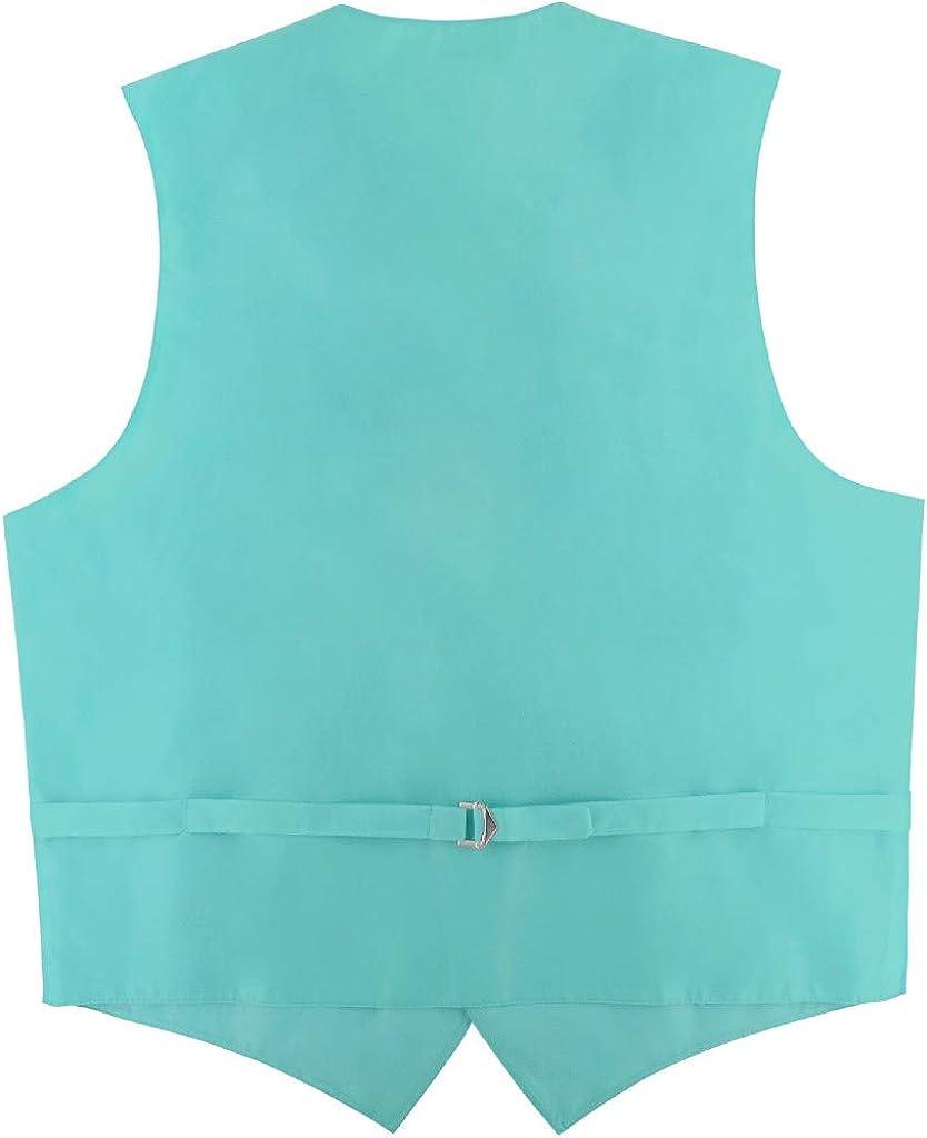 Mens Dress Vest /& Skinny Necktie Solid Turquoise Aqua Blue 2.5 Neck Tie Set