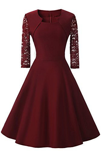 Women's Vintage Square Neck Floral Lace 2/3 Sleeve Cocktail Swing Dress (XXL, Wine Red)