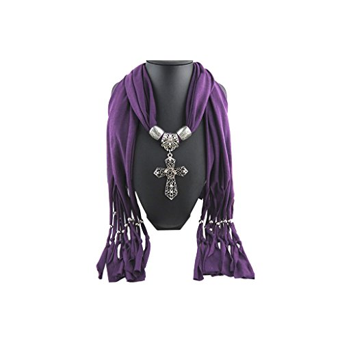 Cross Scarf (Purple Scarf Shawl Victorian Silver Vintage Charm Cross Pendant Necklace Jewelry)
