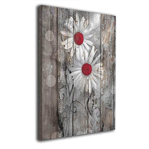 OANAklsd Red Brown Rustic Daisy Flowers Farmhouse Artwork Decor Canvas Print Wall Art for Home Office Decor Ready to Hang 16 X 20 Inch