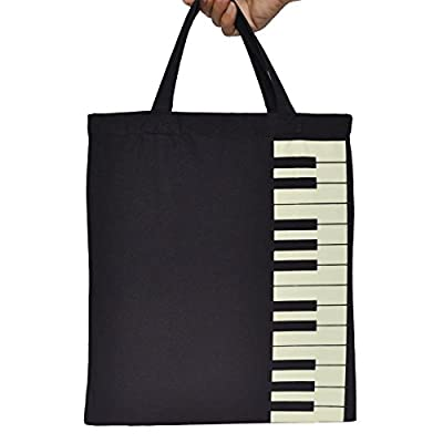 KingPoint Keyboard Pattern Cotton Handbag Shopper Grocery Bags Music Students Reusable Tote Carrying Books Snacks Food Lunch Dinner Box