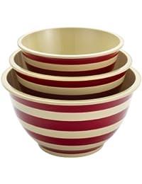 Favor Paula Deen Signature Pantryware 3-Piece Melamine Mixing Bowl Set, Red Stripe dispense