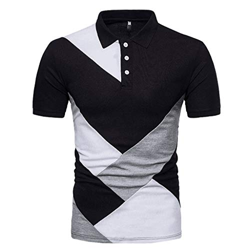 SSYUNO Fashion Personality Men's Casual Slim Fit Short Sleeve Patchwork Button Down T Shirt Top Blouse - Vest Six After Satin