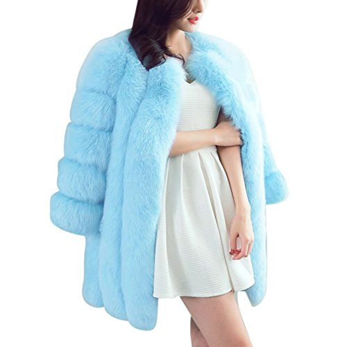Blue Fox Fur Coat Jacket (Froomer Women's Winter Thick Outerwear Warm Long Fox Faux Fur Coat)