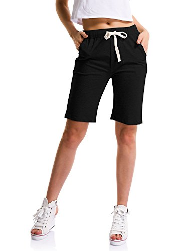 Womens Brushed Jersey Shorts - Women's Soft Knit Elastic Waist Jersey Shorts with Drawstring Black US 0 - Tag M
